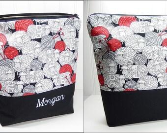 Personalized Knitting bag, Sheep yarn bag, crochet project bag, knitters gift, knitting bag personalized