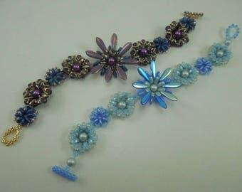 BP-BRA-005-2017-055 - Tanzanite Cups - Bracelet Tutorial, seed bead jewelry, beadweaving pattern, beaded bracelet, beadwork