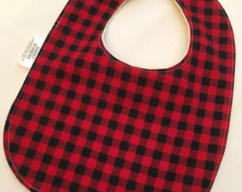 On Sale Little Lumberjack - Infant or Toddler Bib - Terry Cloth Backing - Reversible with ADJUSTABLE Snaps