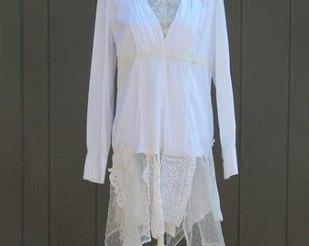 Altered Women's Creme Knitted Shrug/Sweater Long Lace