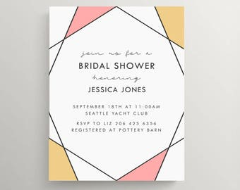 geometric bridal shower invitation set // baby shower // birthday // modern // simple // neutral // party // engagement // thank you note