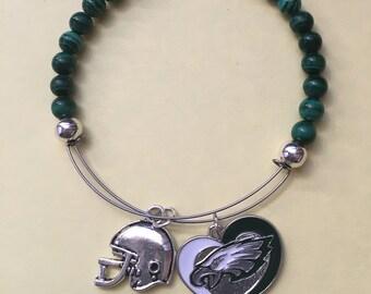 """Philadelphia Eagles Football  bracelet. 2 1/2 """" diameter…fits 7 1/2 """" - 8 """""""