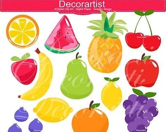 ON SALE Fruits Clip ArtPineappleWatermelonApplePearCherryKawaii FruitCute Fruit ClipartHappy Fruit Clip Art