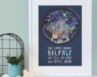 Deer Silhouette Star Map Print - Personalised Print - Anniversary Gift - Geek Gift - New Parent Gift - Romantic Gift