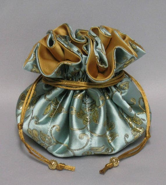 Jewelry Travel Tote---Drawstring Organizer---Aqua & Gold Satin Brocade Floral---Large Size