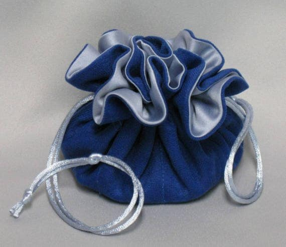 Jewelry Travel Tote---Eight Pocket Organizer Pouch--Royal Blue Soft Suedecloth---Medium Size