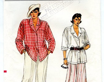 Vintage Vogue 9228 Womens' Loose Fit Button Up Shirt, Wide Leg Pants and Flared Skirt UNCUT Sewing Pattern Sizes 8 10 12 Small Bust 31 32 34