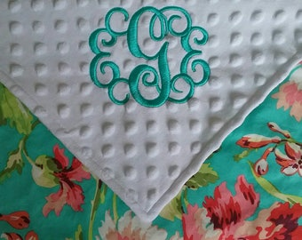 Personalized Monogrammed Baby Blanket Colorful Floral Lovey Aqua Pink Coral Minky Baby Girl Amy Butler  28x30