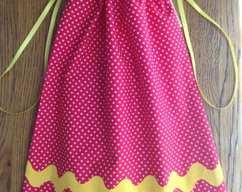 Pink Polka Dot Cotton Shoe Bag with Inner Compartment and Yellow Ric Rac, Drawstring Shoe Bag, Reusable Shoe Bag, Handmade in Australia