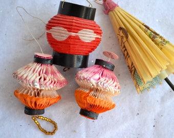 Vintage Christmas Ornaments - Honeycomb Paper Lanterns and Umbrella Lot