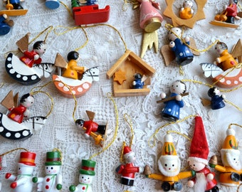 Vintage Christmas Ornaments - Miniature Wood Lot of 49