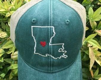 Louisiana State Monogram Baseball Hat, Women's Hat, State Outline Heart Cap, Womens Baseball Cap, Bridesmaids Hats, State Hat