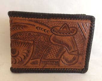 Vintage Tooled Leather Wallet Made in Mexico