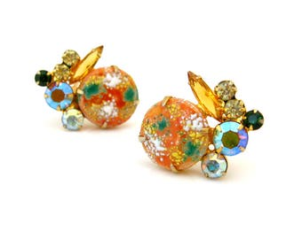 Vintage JULIANA Easter Egg Art Glass Earrings, D&E Autumn Rhinestone Clip On, 1960s Costume Jewelry
