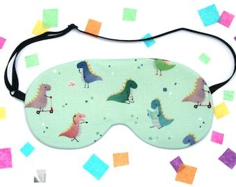 Dinosaur Eye Mask, Cute Animal Fabric, Travel Mask, Silk Back, Gift under 15