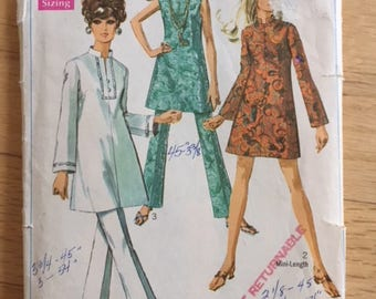 Vintage 60s Simplicity 7994 Dress, Tunic and Pants - size 10