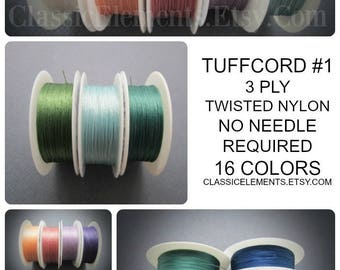 TuffCord #1, TuffCord, Tuff Cord, YOU choose color, Twisted Cord, Stiff Nylon cord, Wrap Bracelet Cord, macrame cord, Size zero, TuffCord #1