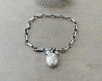 VACATION SALE Silver Charm Bracelet, Tiny Locket Charm, Sterling Silver Bracelet, Vintage Round Locket, Oxidize Silver Chain Bracelet, Silve