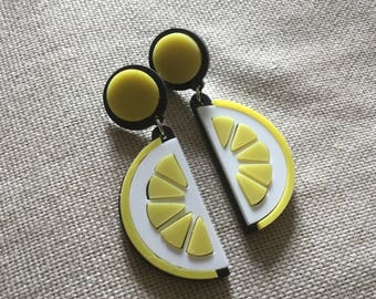 Quirky Pin up inspired Lemon earrings