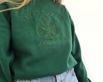 Vintage Green Embroidered San Francisco Sweatshirt