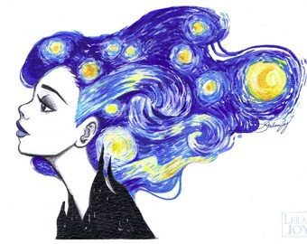 Starry Night 11x14 Fine Art Print by Leilani Joy