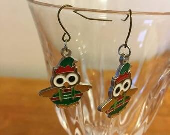 Christmas Elf Owl earrings