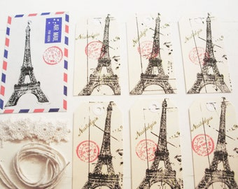Handmade Gift Tags. Gift Tag Kit.  Gift Tags. Eiffel Tower Tags. Crochet Embellishments & String. French Tag Kit. Tag Kit .Vintage Airmail