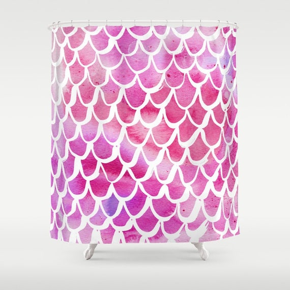 Mermaid Shower Curtain - Pink Shower Curtain - Watercolor Shower Curtain - Shower Curtain - Scallop Shower Curtain - Pink and White