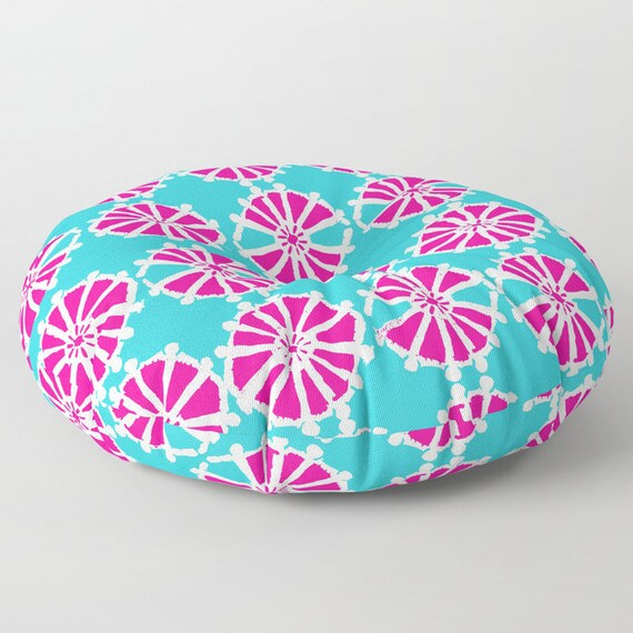 Magenta floor cushion - Round cushion - Turquoise Pillow - Round pillow - Geometric Floor pillow - 26 inch pillow - 30 inch pillow