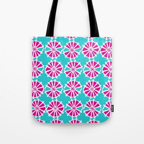 Tote bag Turquoise tote bag Magenta tote bag White Wheel tote bag tote Canvas bag Shopping bag Aquamarine tote bag Summer bag