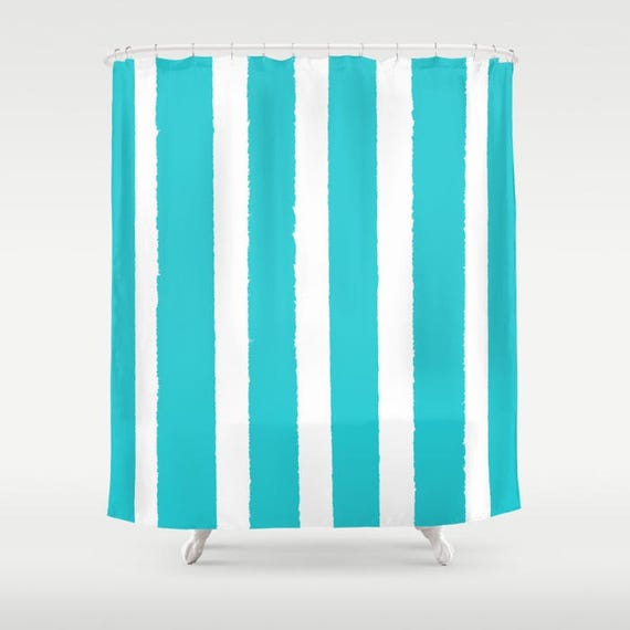 Aquamarine Shower Curtain - Aqua Shower Curtain - Modern Shower Curtain - Shower Curtain - Striped Shower Curtain - Cyan and White