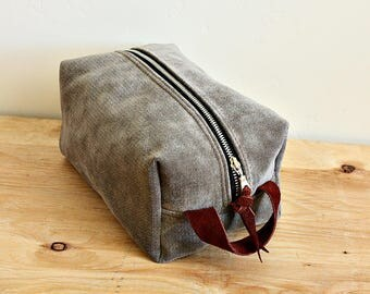 Canvas dopp kit/ medium mens toiletry bag/ canvas pouch/ travel kit/ leather trim - ready