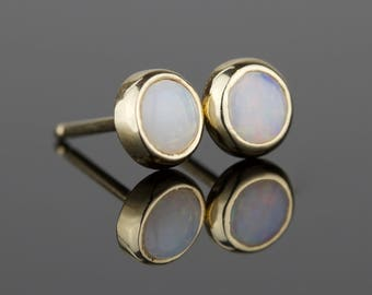 4mm Natural AAA Opal Delicate 14k Rose or Yellow or White Gold Stud Earrings - Solid 14k Gold Post - Genuine Australian October Birthstone