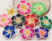 Polymer Clay Flower Beads,  15 pcs, 20mm,  Fimo Beads, Tropical Flowers  -B2038