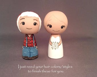 Semi Custom Lumberjack Wedding Cake Toppers