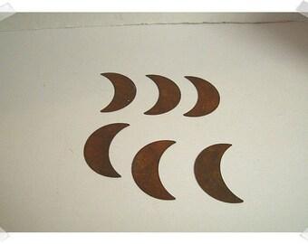 Rusty Metal Moons/Set of 6/Craft Supplies*