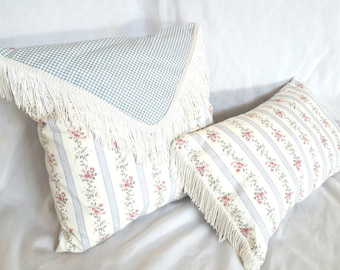 Cottage chic fringe pillows, blue gray, floral, cream, blue gingham, Country 16x17 inches, lumbar cushion, with insert, 11x17 inches