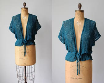 1970s Sweater - Vintage 70s Deadstock Teal Green Knit Crochet Fishnet Batwing Ballet Shawl - Best Odds Shrug