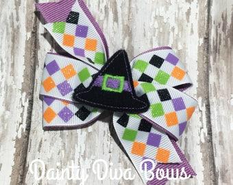 Witch Hat Halloween Hair Clip, Halloween Bow, Feltie, Toddler Hair Bow, Halloween Hair Bow, Pinwheel Bow, Witch Hair Bow, 3 inch, Ready Ship
