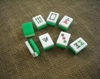 Green Tricolor Mahjong Tiles - Mah jong Tiles for Crafts - Oriental Craft Supplies