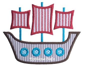 985 Pirate Ship 3 Machine Embroidery Applique Design