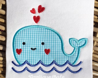 1029 Valentine Whale Machine Embroidery Applique Design