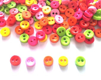 100 pcs Tiny Buttons micro buttons 2 holes size 6mm mix red, yellow, orange, light pink, green