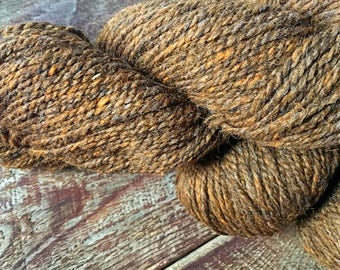 Peace Fleece - rustic chestnut brown wool yarn, knitting yarn, weaving yarn, crocheting yarn
