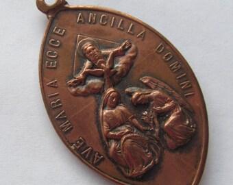 Virgin Mary Angel Gabriel Annunciation Antique Religious Medal Jesus Sacred Heart Pendant