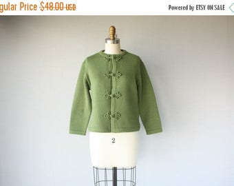 48 HR FLASH SALE 1960s Wool Sweater | 60s Sweater | Deadstock 1960s Cardigan | Cropped Sweater | Green Wool Cardigan 60s (small/medium)