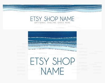 Etsy Cover Photo - Etsy Shop Covers -  Blue Etsy Shop Covers - 2 Piece Etsy Shop Cover Set - Blue Wavy 2018-3