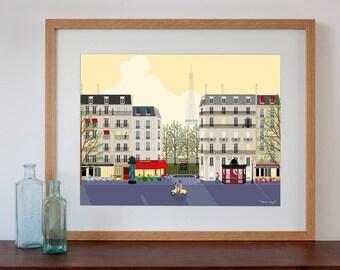 Paris Street Scene Art Print - Dawn or Dusk