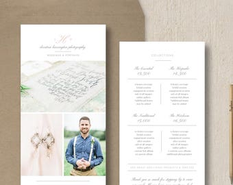 Rack Card Template for Photoshop - Wedding Photography Brochure Design - Pricing Guide Templates - Price List - Digital PSD