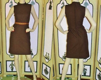 ON SALE Vintage 1960's Chocolate Brown Dress with Southwestern Ribbon Trim. Small.